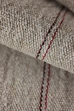 Antique linen homespun hemp 4.1 yards black + red stripes NUBBY fabric material