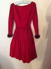 VTG WINTER WONDERLAND~50s Custom VIVID RED VELVET Skating Party Dress~ Fur Cuffs