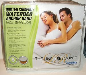 Quilted Waterbed Anchor Band Mattress Pad Super Single, Queen, Cal King PRIORITY