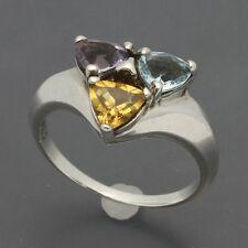 Sterling Multi-Gemstone Ring Trillion Cut Amethyst Citrine & Blue Topaz Sz 8.75