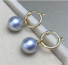 Natural 14mm Tahitian Gray South Sea Shell Pearl 14k Gold Plated Dangle Earring