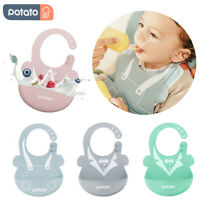 POTATO 2PCS Silicone Baby Bibs Waterproof Feeding Bibs Adjustable with Pocket