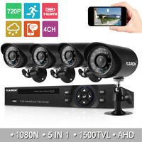 4CH 1080N AHD DVR HDMI CCTV System Outdoor 1500TVL IR-Cut Bullet Security Camera