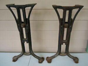 Antique Chandler Boston  Adjustable Cast Iron School Desk Table Base Legs