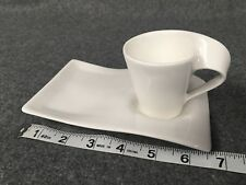 NEW Villeroy & Boch 1748 Germany White New Wave Caffe Cup & Saucer