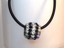 CRYSTAL PAVE NECKLACE disco ball shamballa black and white.  Ball on cord.