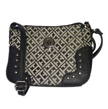 TOMMY HILFIGER Jacquard Handbag/Purse/Bag Womens Black Studded NEW NWT $69