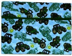 Toddler Pillowcase for John Tractors on Blue Flannel  #JD24 New Handmade