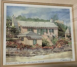 CAROLE HOLDING Bermuda Cottage Art Hand Signed Watercolor Painting Matted Print