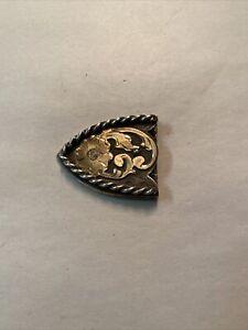 """Vintage Sterling Silver Hand Engraved Western Belt Tip 1.5"""" Belt 20 Grams"""