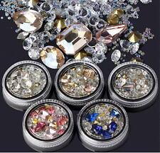 3D Nail Art Tips gems Crystal Glitter Rhinestone DIY Decoration Box Kit