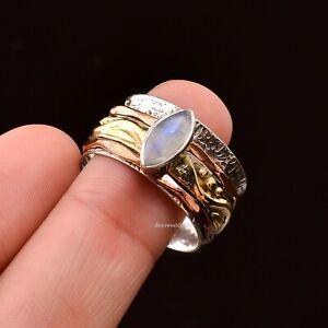 Moonstone Ring 925 Sterling Silver Spinner Ring Women Handmade Jewelry xx49