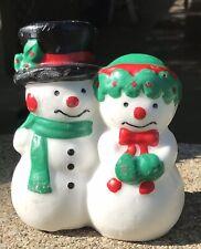 Vintage Snowman Couple Wax Candle 5 X 5� #Xm6