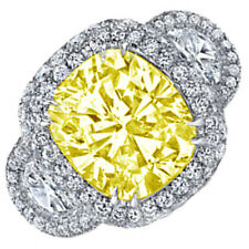 Fancy Yellow 6.00 CTW Cushion Cut GIA Certified Diamond Engagement Ring Platinum