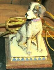 Vint. English Foxhound Dog Ceramic Electric Table Lamp With Lamp Shade-Works !