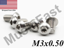 M3x0.5 Button Head Socket Cap Screw 6mm-35mm Stainless Steel ISO: 7380 A2 18-8