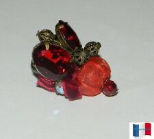 BAGUE AJUSTABLE CUIVRE INSECTE PERLE ROUGE  NEUF