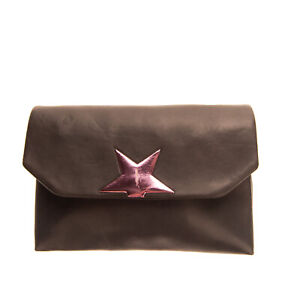 RRP €645 GOLDEN GOOSE DELUXE BRAND Leather Crossbody Clutch Bag Star Chain Strap