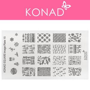 Original KONAD ® Stamping Nailart Design Schablone Square Image Plate - XL 10