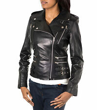 Ladies Women Black Real Leather Rock Chick Short Biker Fitted Jacket Zips Galore