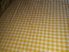 "New listing Orange butterscotch white check picnic cotton print tablecloth 53"" x 65"" vtg"