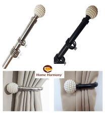 Pearl Ball 25-28 mm Telescopic Extendable Curtain Pole Set Holdbacks Available