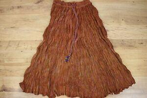 Vtg 70's80s BROWN Cotton Gauze Boho Gypsy Hippy Crinkled Lurex Skirt NEW