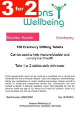 Cranberry 5000mg Tablets for cystitis relief. 100 Tablets. 3 FOR 2 SPECIAL OFFER