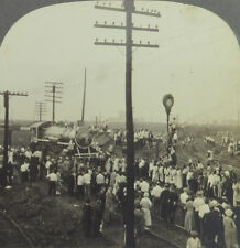 Keystone Stereoview President Harding's Funeral Train Arriving: Chicago, IL 1923