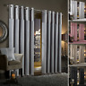 Gran Reno Crushed Velvet Faux Silk Curtains PAIR Eyelet Ring Top Fully Lined