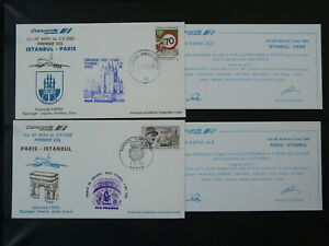 Concorde first flight Paris to Istanbul Turkey 1988 x2 flown covers 101202