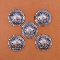 5pcs Western Southeast American Bison Bull Buffalo Leathercraft Coin Concho