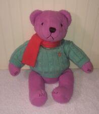 "Ralph Lauren Pink Teddy Bear Teal Knit Sweater Coral Scarf Plush 15"" 2004"