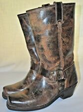 Women's Frye Brown Tan / Brown / Choco Distressed Motorcycle Harness Boots 9M