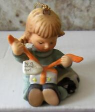 Berta Hummel Goebel 1997 Little Gift Wrapper Christmas Tree Ornament Figurine