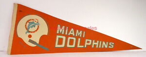 Vintage Football Pennant~Miami Dolphins~1970s~Canteen Corp~Schaefer Stadium~NFL