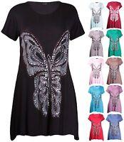 Womens Plus Size Top Short Sleeve Sequin Butterfly Uneven Hem Ladies Long Tunic