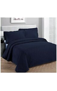Fancy Collection 3pc Luxury Bedspread Coverlet Embossed Bed Cover Solid Navy New