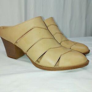 Women size 10 tan Mule Slip-On Shoes Memory Foam cut out open toe block heel