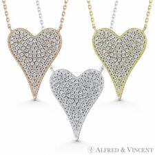 Large Heart CZ Crystal Pave Love Charm Pendant & Necklace in 925 Sterling Silver