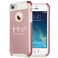 For iPhone SE 5s 6 6s 7 Rose Gold Shockproof Case Faith Hope Love EKG Christian