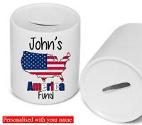America Fund Personalised Money Box Piggy Bank Coin Bank Savings Holiday