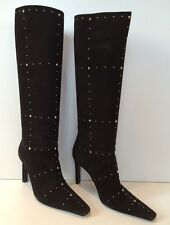 CASADEI Size 7 Black Suede Rivet Studded High Heel Pull-On Knee High Boots EUC
