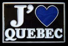 J'aime Quebec I Love Blue Heart Fleur De Lys Belt Buckle Boucle De Ceinture