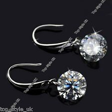 925 Sterling Silver (SP) Drop Round Crystal Diamond Earrings High Shine Gift