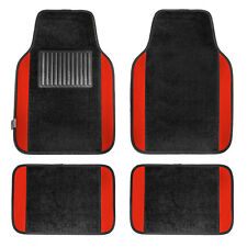 Carpet Floor Mats With Red Trim Fit Most Car, Truck, Suv, or Van
