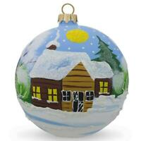 Winter Village Forest Scene Glass Ball Christmas Ornament 4 Inches