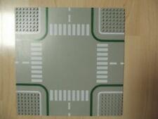 Lego--Straßenplatte-Kreuzung/Zebra--Rund-grau/weiß/grün--32 x 32 -Verkehr-