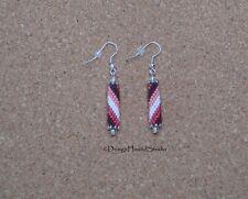Peyote Earrings - Miyuki Beads - Native - Tribal - Drop Tubes - Candy Stripes