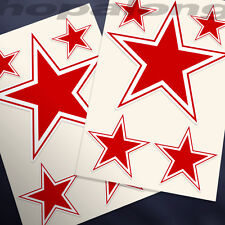 Retro Red Star Sticker Decals (x10)